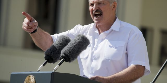 "Aug. 16, 2020: Belarusian President Alexander Lukashenko addresses his supporters gathered at Independent Square of Minsk, Belarus. European Union leaders are putting on a show of support Wednesday Aug. 19, 2020 for people protesting in Belarus. Emergency talks will aim to highlight their concern about the contested presidential election and ratchet up pressure on officials linked to the security crackdown that followed. The EU believes that the results of the Aug. 9 polls, which handed President Alexander Lukashenko his sixth term with 80% of the vote, ""have been falsified,"" and the 27-nation bloc is preparing a list of Belarus officials who could be blacklisted from Europe over their roles. (AP Photo/Dmitri Lovetsky)"
