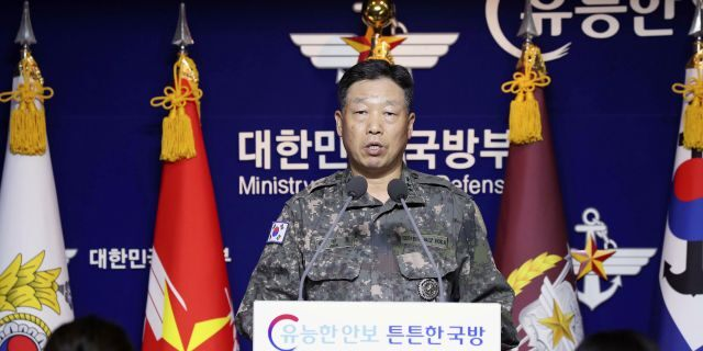 Lt. Gen. Ahn Young Ho, a top official at the South Korean military's office of the Joint Chiefs of Staff, speaks during a press conference at the Defense Ministry in Seoul, South Korea, Thursday, Sept. 24, 2020. (Associated Press)