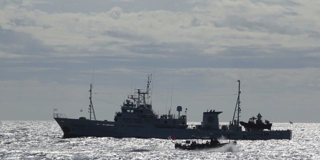 South Korea's government ships are seen near Yeonpyeong island, South Korea, Friday, Sept. 25, 2020. (Associated Press)