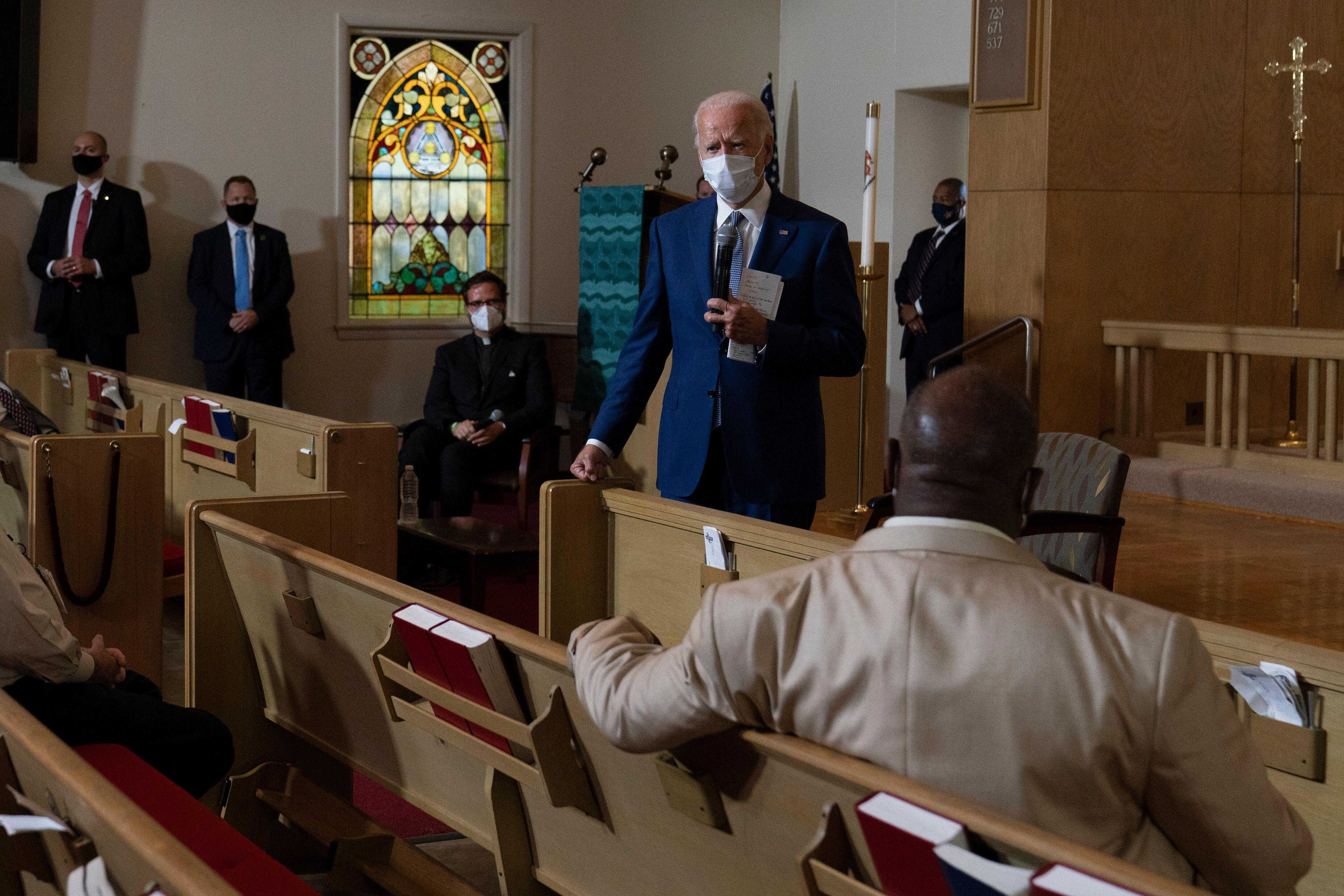 Biden speaks during a community event at Grace Lutheran Church in Kenosha on Sept. 3.