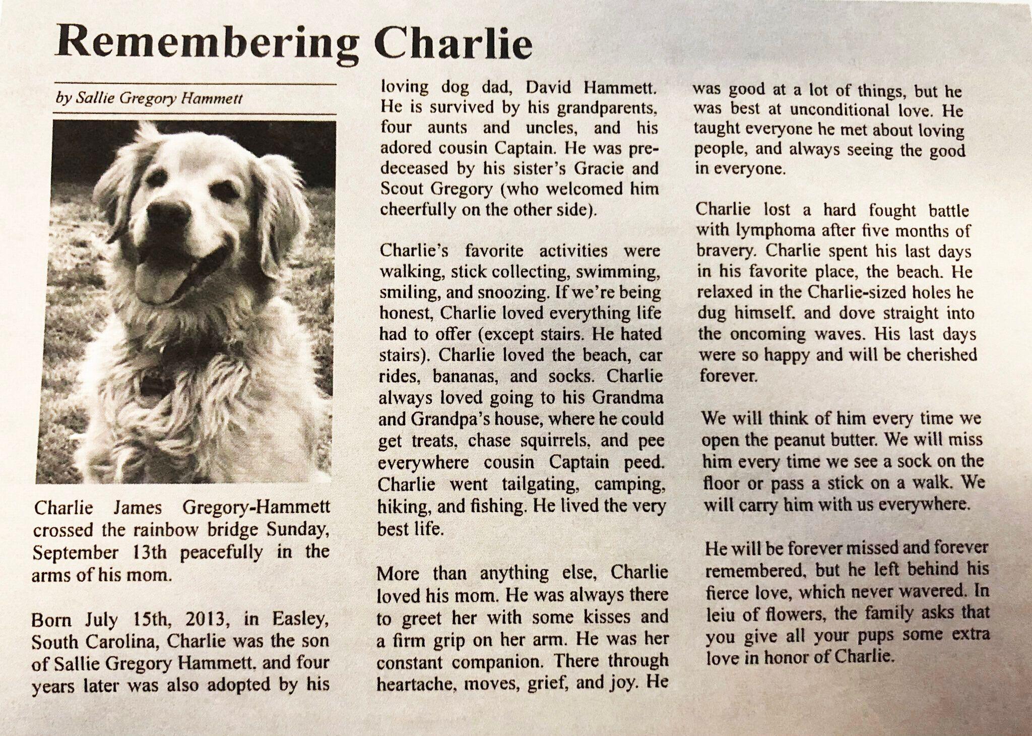 Charlie's obituary.