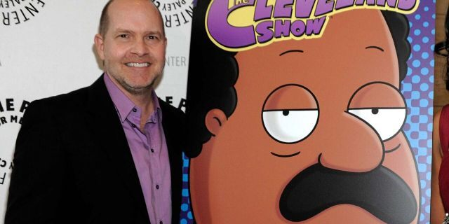 Actor and show co-creator Mike Henry appears with signage for his animated series 'The Cleveland Show' at a panel discussion at The Paley Center for Media on Sept. 23, 2010, in Beverly Hills, Calif.