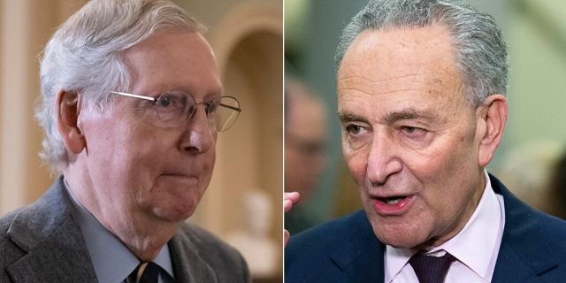 Senate Majority Leader Mitch McConnell, R-Ky., and Minority Leader Chuck Schumer, D-N.Y., have been engaged in a war of words this week in advance of the announcement of President Trump's Supreme Court nominee. (AP)