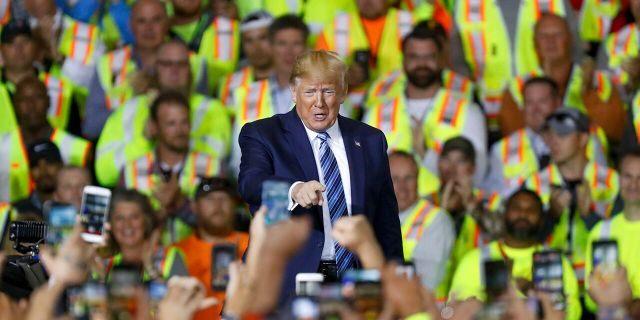 President Donald Trump arrives to speak at the Pennsylvania Shell ethylene cracker plant on Tuesday, Aug. 13, 2019 in Monaca, Pa.(AP Photo/Keith Srakocic)