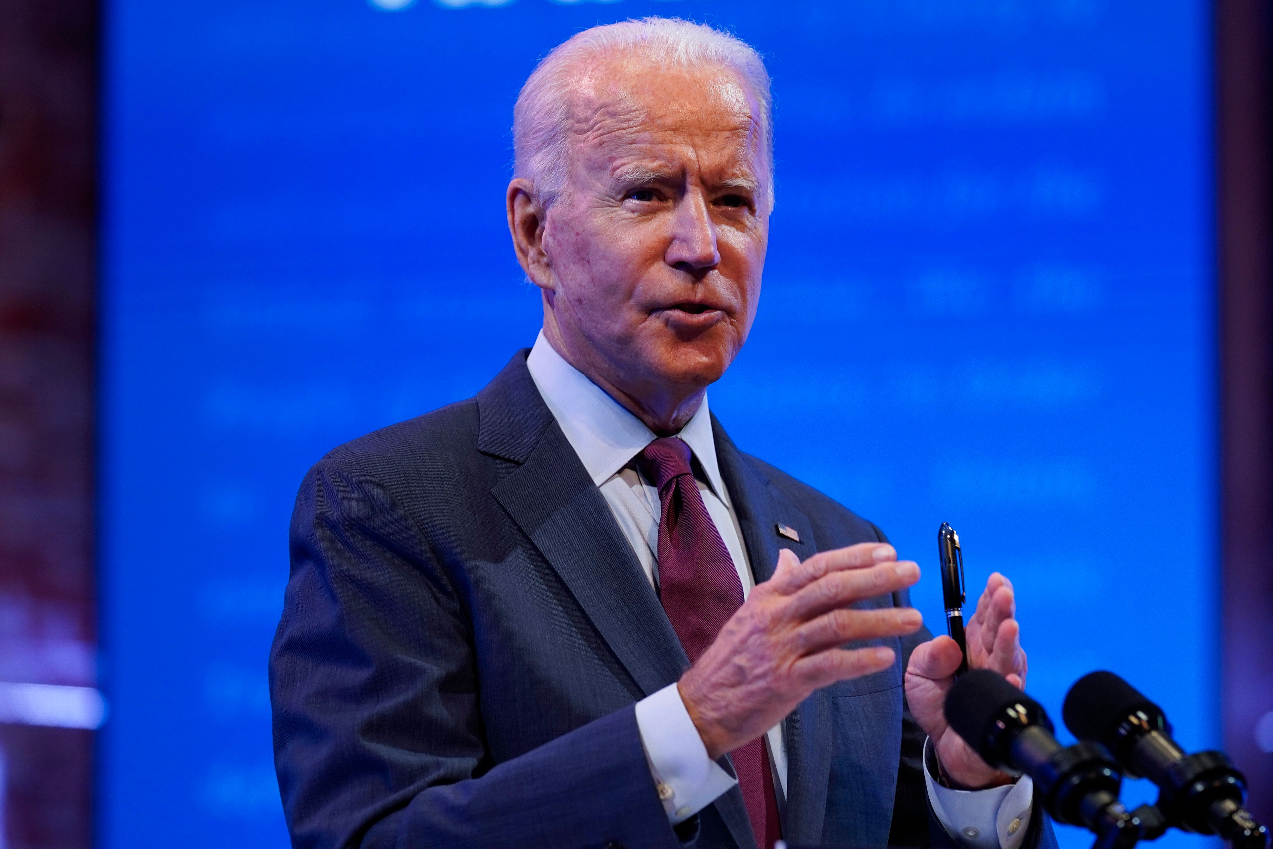 Democratic presidential candidate Joe Biden gives a speech Sunday in Wilmington, Delaware.