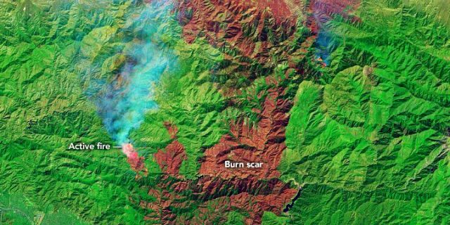 The burn scar can be seen from the Bobcat Fire on Sept. 21, 2020