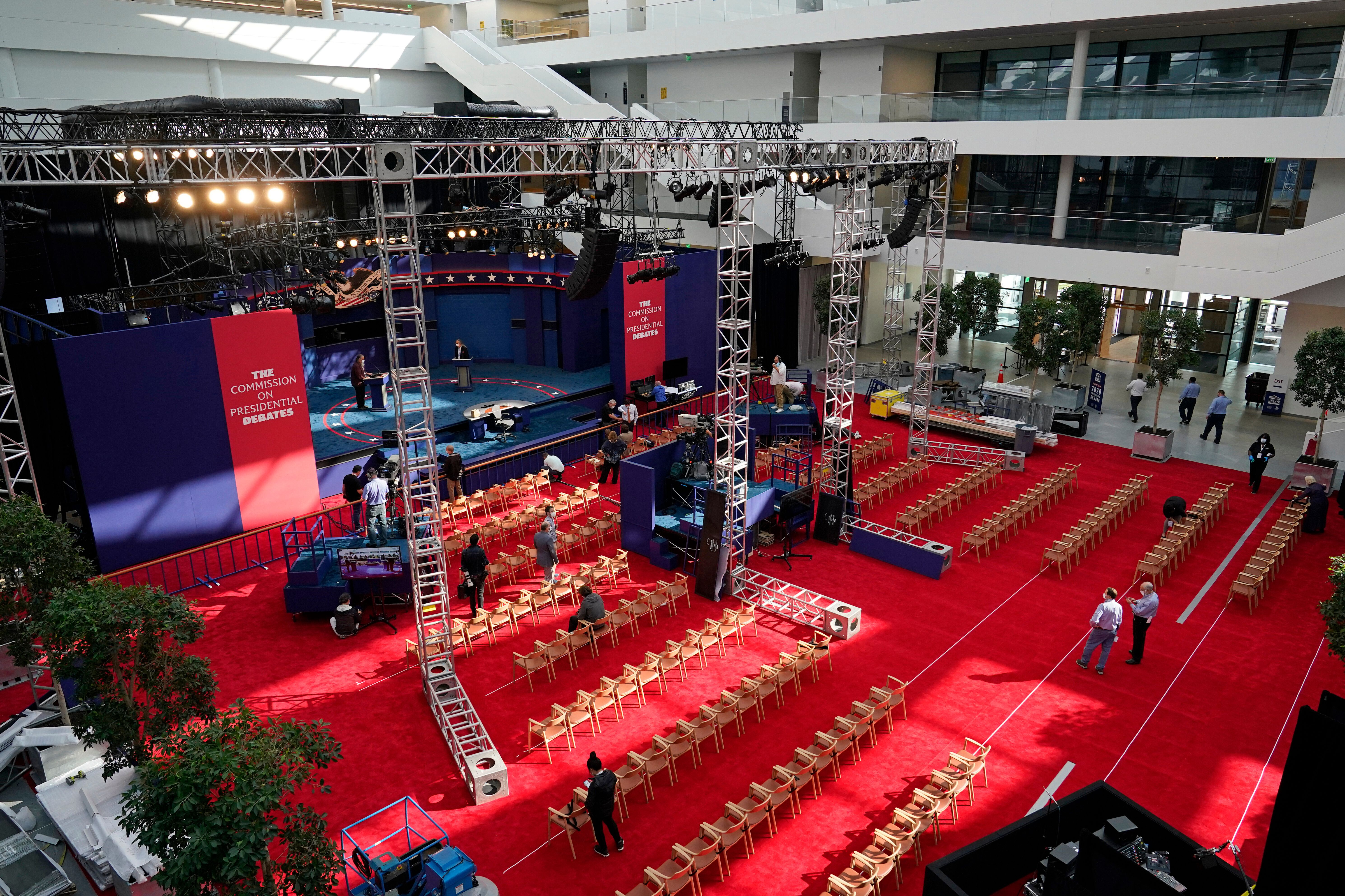 Preparations take place in Cleveland on Sept. 28, 2020, for the first presidential debate between Donald Trump and Joe Biden.