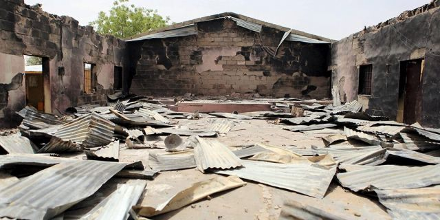 A church that residents say was burned by Boko Haram militants is seen in Damasak March 24, 2015. Boko Haram militants have kidnapped more than 400 women and children from the northern Nigerian town of Damasak that was freed this month by troops from Niger and Chad, residents said Tuesday. Nigerian, Chadian and Niger forces have driven militants out of a string of towns in simultaneous offensives over the past month. (REUTERS/Joe Penney)