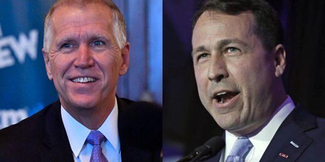 Incumbent U.S. Sen. Thom Tillis, a Republican, left, faces a challenge from Democrat Cal Cunningham.