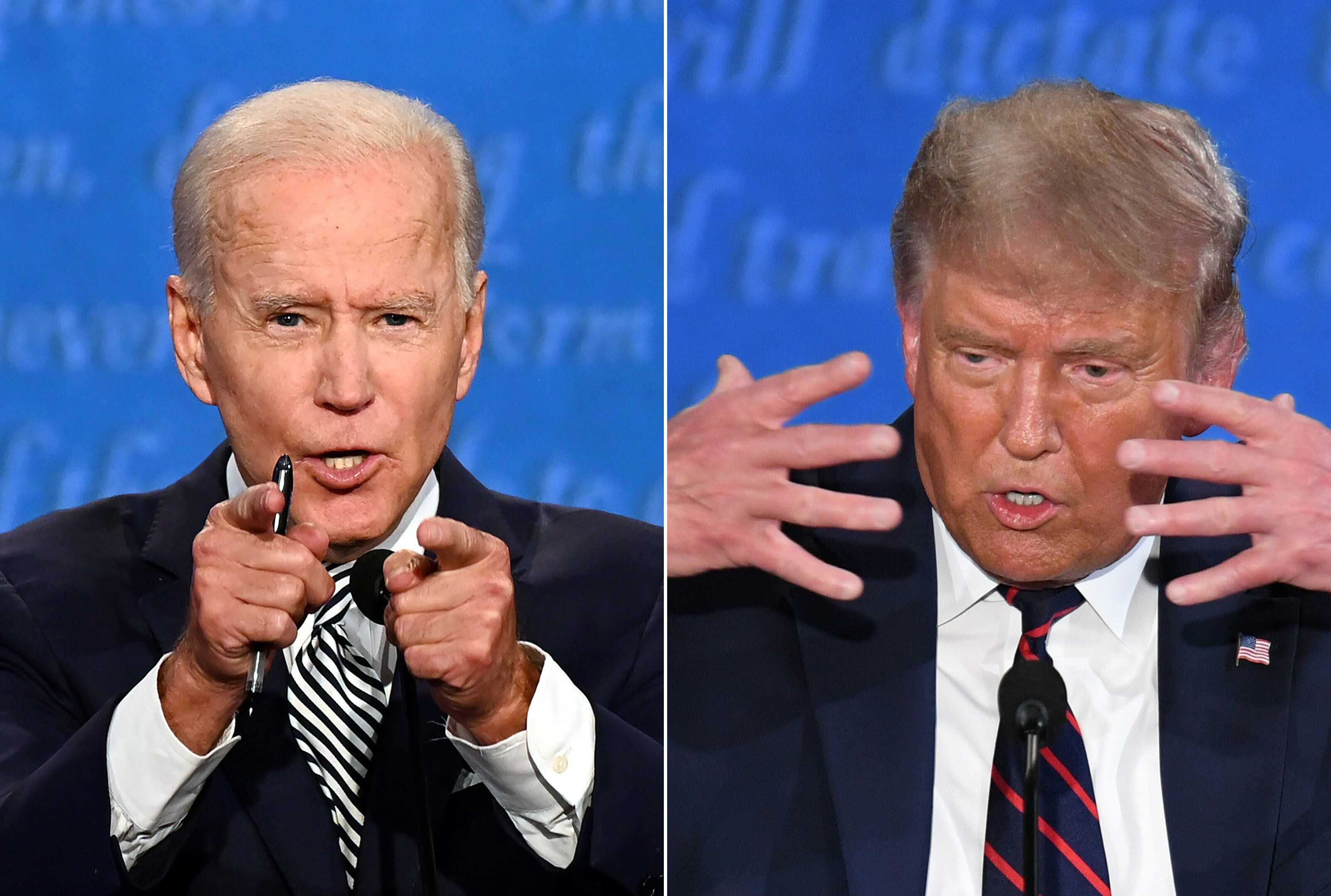 Former Vice President Joe Biden (left) and President Donald Trump meet at the first2020 presidential debate Tuesday at
