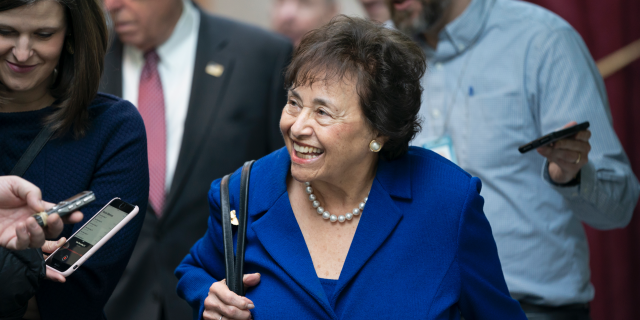 In this Feb. 6, 2019, photo House Appropriations Committee Chair Nita Lowey, D-N.Y., head of the bipartisan group of House and Senate bargainers trying to negotiate a border security compromise in hope of avoiding another government shutdown, walks with reporters to a Democratic Caucus on Capitol Hill in Washington. Lowey announced Thursday she would not seek another term.