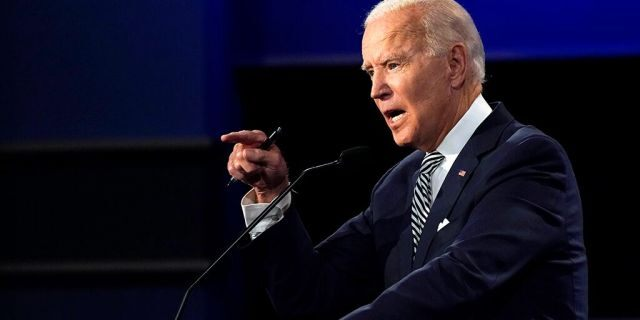 Democratic presidential candidate former Vice President Joe Biden speaks during the first presidential debate Tuesday, Sept. 29, 2020, at Case Western University and Cleveland Clinic in Cleveland, Ohio. (AP Photo/Julio Cortez)