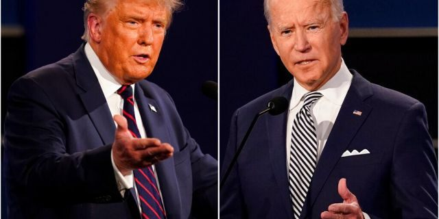 This combination of Sept. 29, photos shows President Donald Trump, left, and former Vice President Joe Biden during the first presidential debate at Case Western University and Cleveland Clinic, in Cleveland, Ohio. (AP Photo/Patrick Semansky)