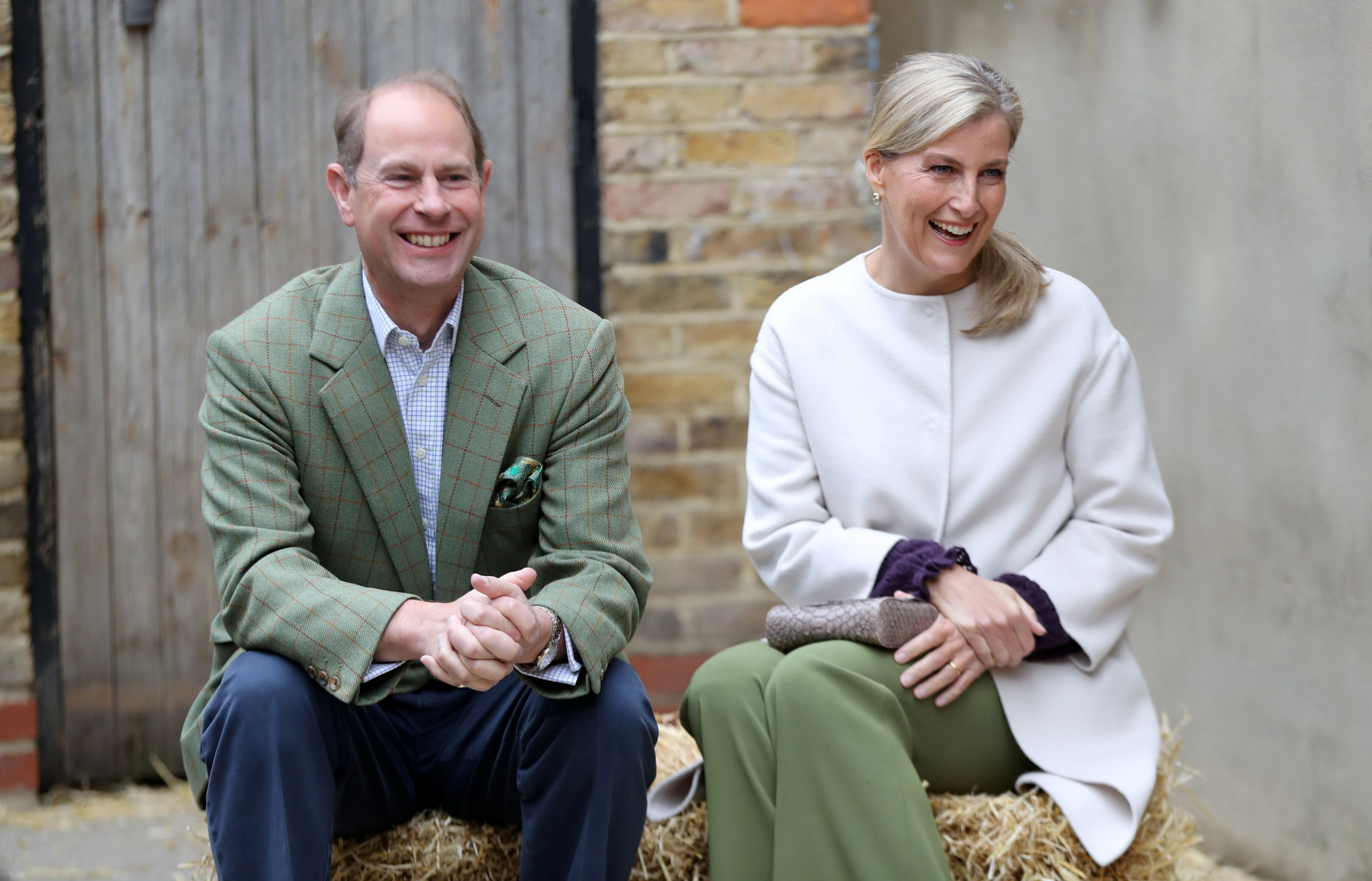 Prince Edward and Sophie, Countess of Wessex smile during a visit to see Vauxhall City Farm's community engagement and educat