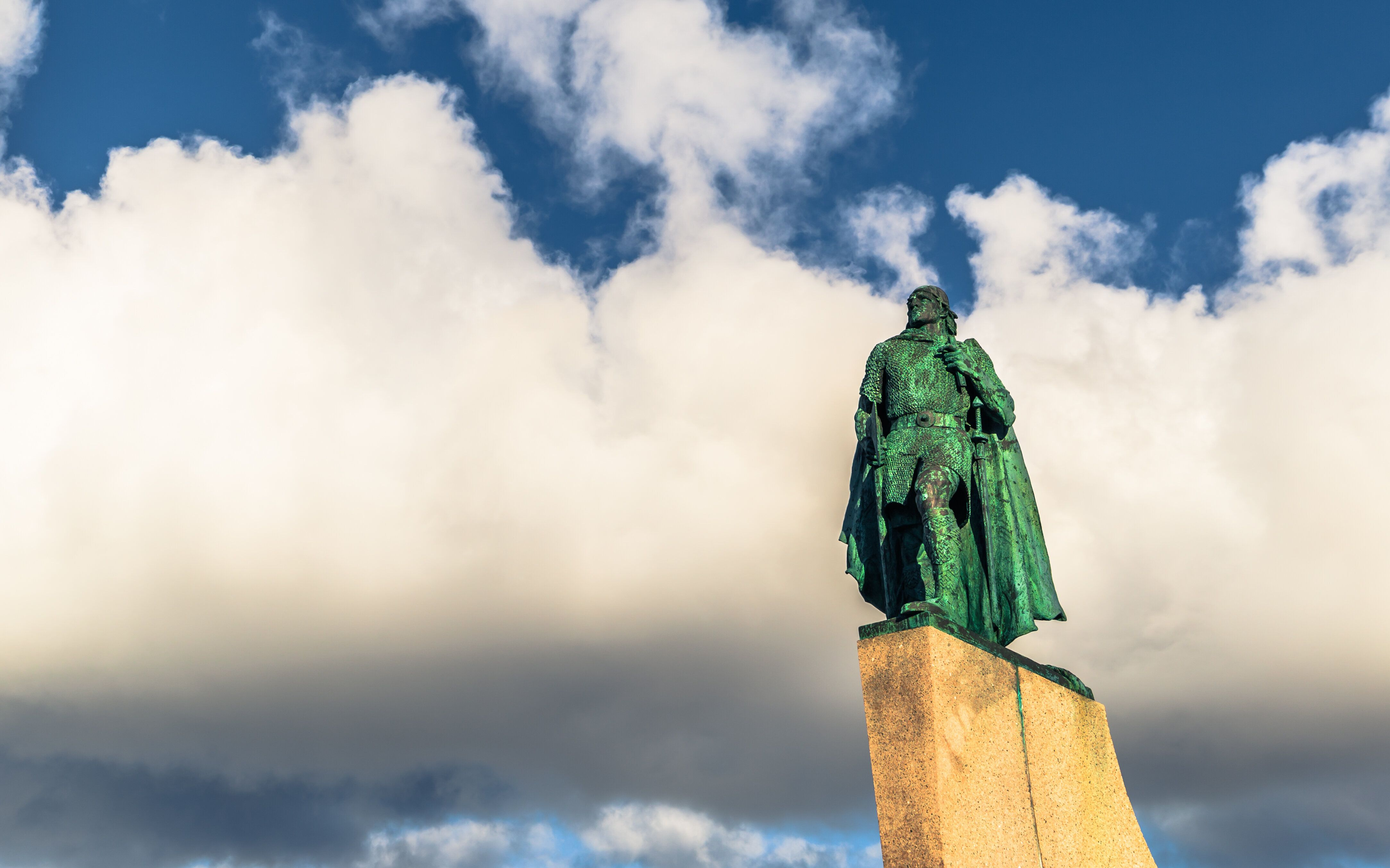 A statue of Leif Erikson in the center of Reykjavik, Iceland.