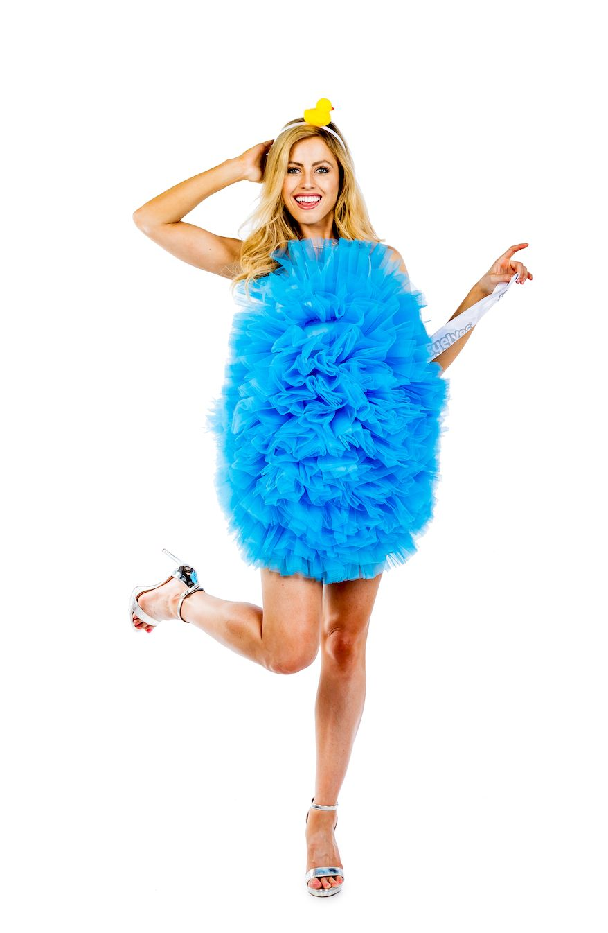 """Wear this <a href=""""https://www.tipsyelves.com/loofah-costume-dress"""" target=""""_blank"""">Loofah costume</a> and you will be shower"""