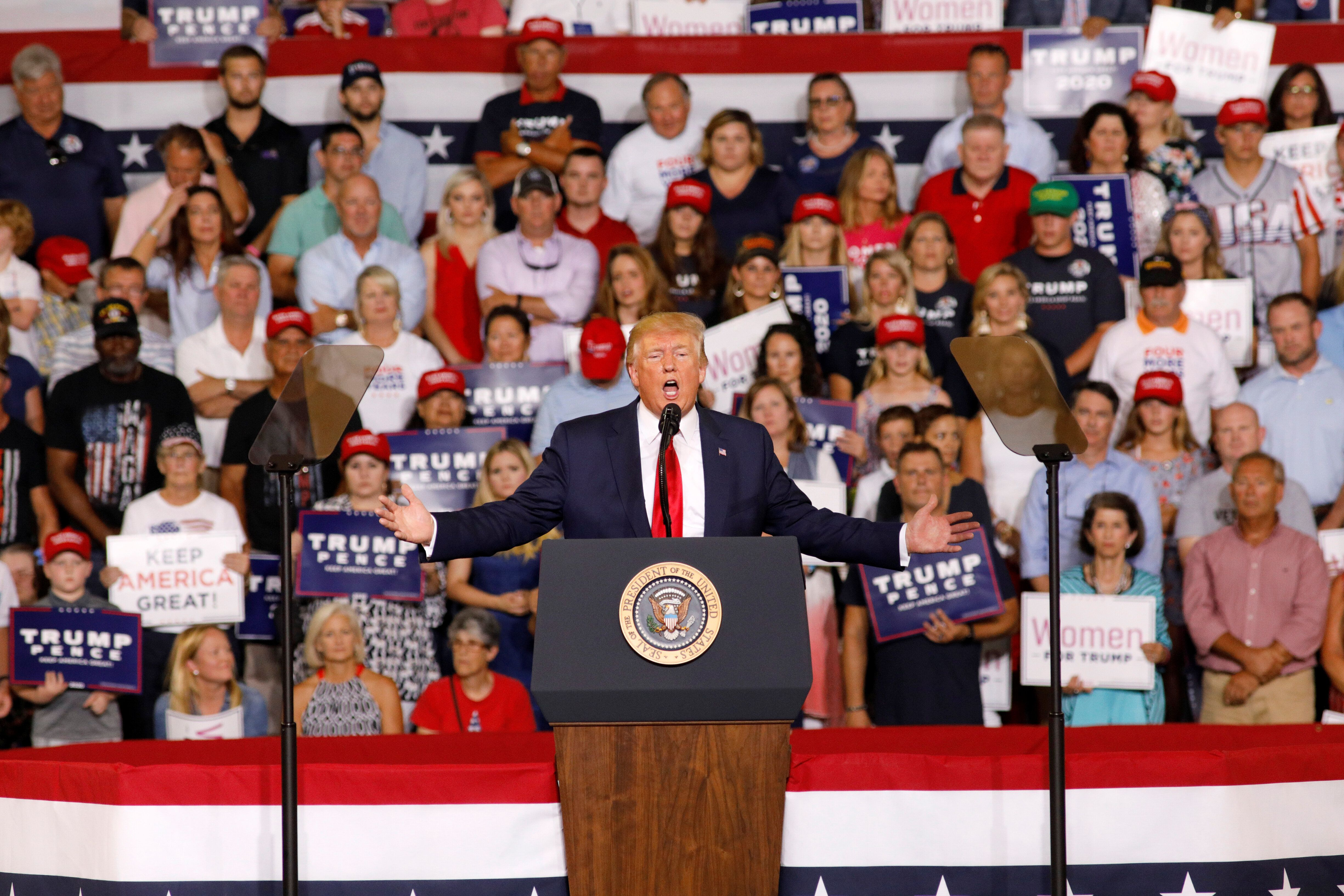 """Trump speaks about U.S. Rep. Ilhan Omar, and the crowd responds with """"send her back"""" at a """"Keep America Great"""" campaign rally"""