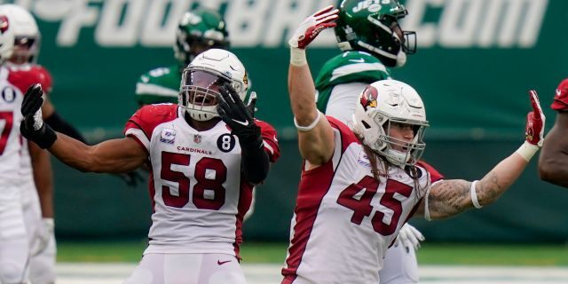 Arizona Cardinals linebacker Dennis Gardeck (45) celebrates with middle linebacker Jordan Hicks (58) after sacking New York Jets quarterback Joe Flacco during the second half of an NFL football game, Sunday, Oct. 11, 2020, in East Rutherford. (AP Photo/Seth Wenig)