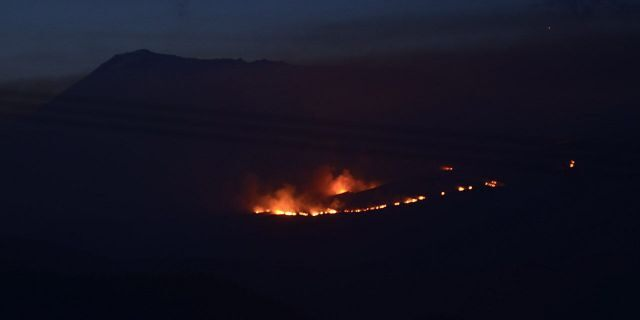 A fire broke out on Mount Kilimanjaro on Sunday. Rescue services have been working to put out the fire on the highest mountain in Africa. (Photo by Thomas Becker/picture alliance via Getty Images)