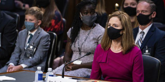 Supreme Court nominee Amy Coney Barrett listens during her Senate Judiciary Committee confirmation hearing on Capitol Hill in Washington, Monday, Oct. 12, 2020. (Demetrius Freeman/The Washington Post via AP, Pool)