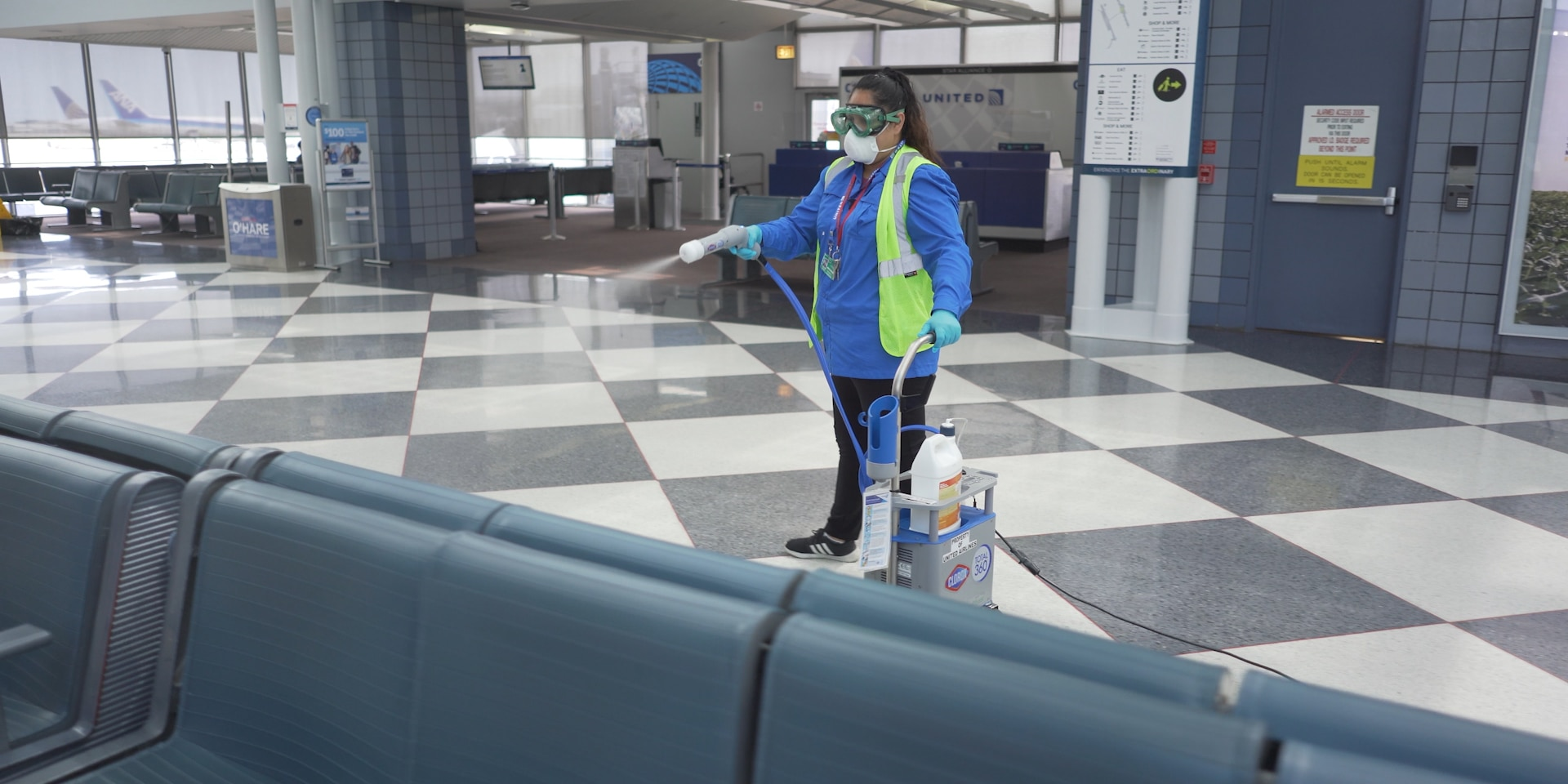 Clorox Total 360 System is a portable machine that can disinfect surfaces. (United Airlines)