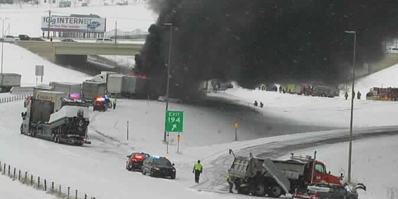 A fiery crash shut Interstate 94 in both directions on Thursday, Nov. 12, 2020 in Monticello, Minn. as a snow squall was reported in the area.