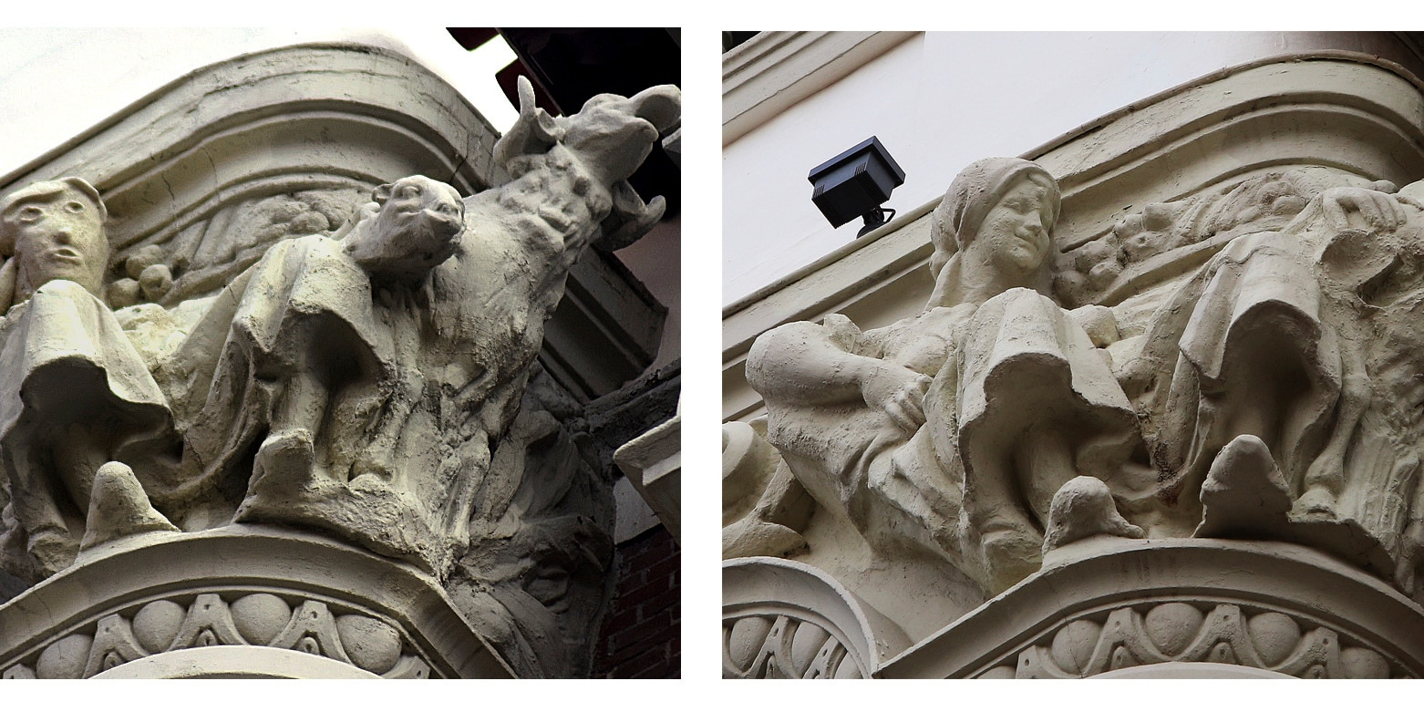 This combo picture shows a sculpture before (right) and after being restored (left) on the exterior of an ornate office building in the city of Palencia, Spain, Wednesday, Nov. 11, 2020. Restoration work on a sculpture in northern Spain has resurrected memories of a restored Christ fresco in another Spanish city eight years ago that drew ridicule as well as tourists. (AP Photo/Alberto Calleja [left image] Agencia ICAL [right image])