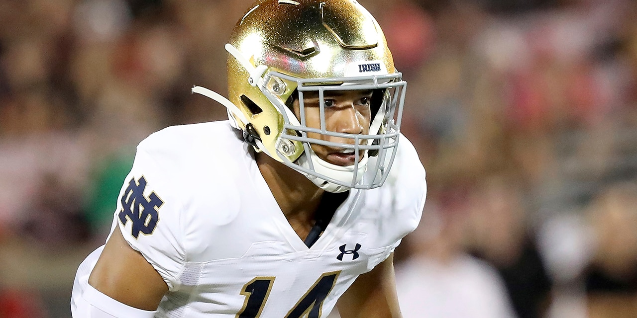 Notre Dame defensive back Kyle Hamilton during an NCAA football game on Monday, Sept. 2, 2019, in Louisville, Ky. (AP Photo/Tony Tribble)