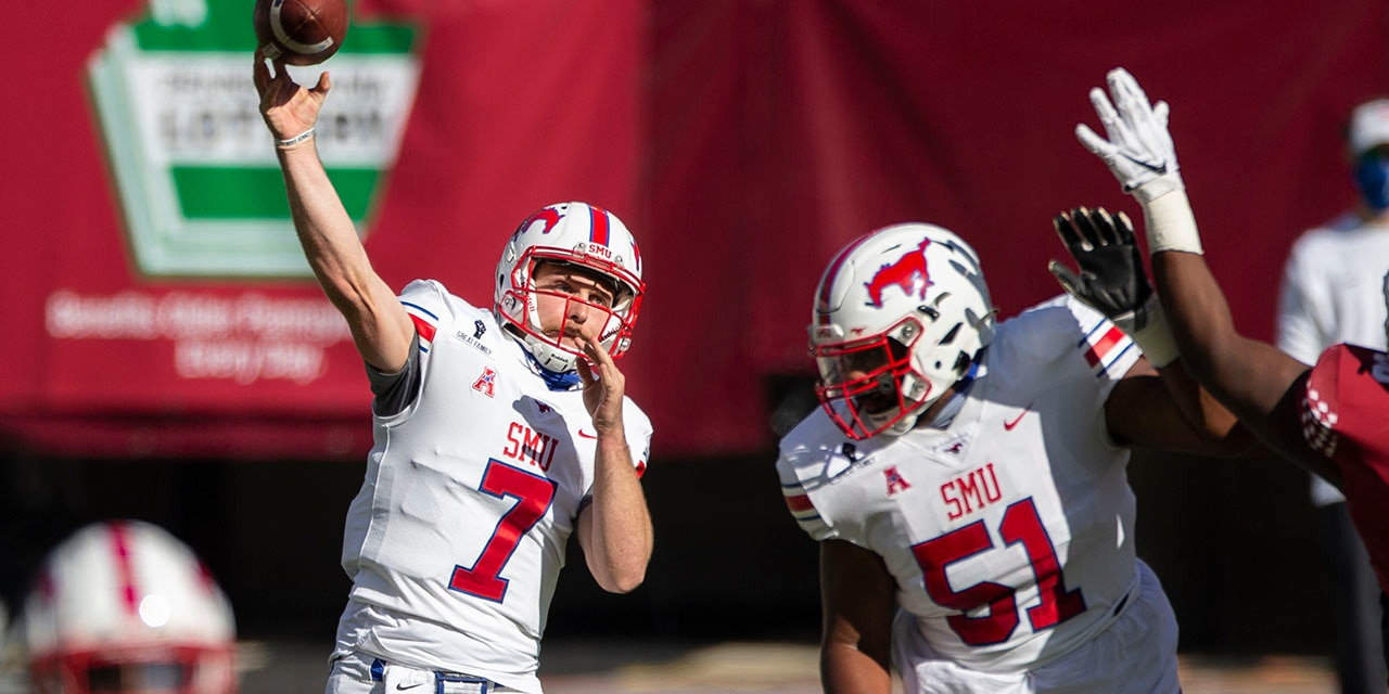SMU quarterback Shane Buechele (7) throws during the first half of an NCAA college football game against Temple, Saturday, Nov. 7, 2020, in Philadelphia. (AP Photo/Laurence Kesterson)