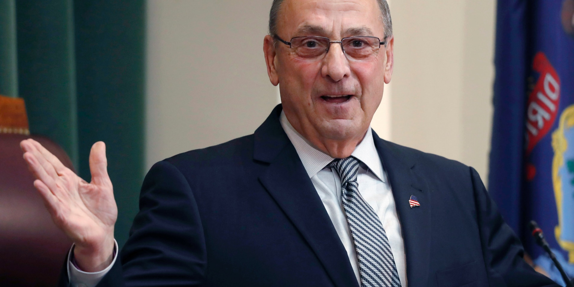 FILE - In this Feb. 13, 2018, file photo, Gov. Paul LePage delivers the State of the State address to the Legislature at the State House in Augusta, Maine. In March 2019 the state released a list of the 115 people pardoned by former Gov. LePage following a public records request by The Associated Press. (AP Photo/Robert F. Bukaty, File)