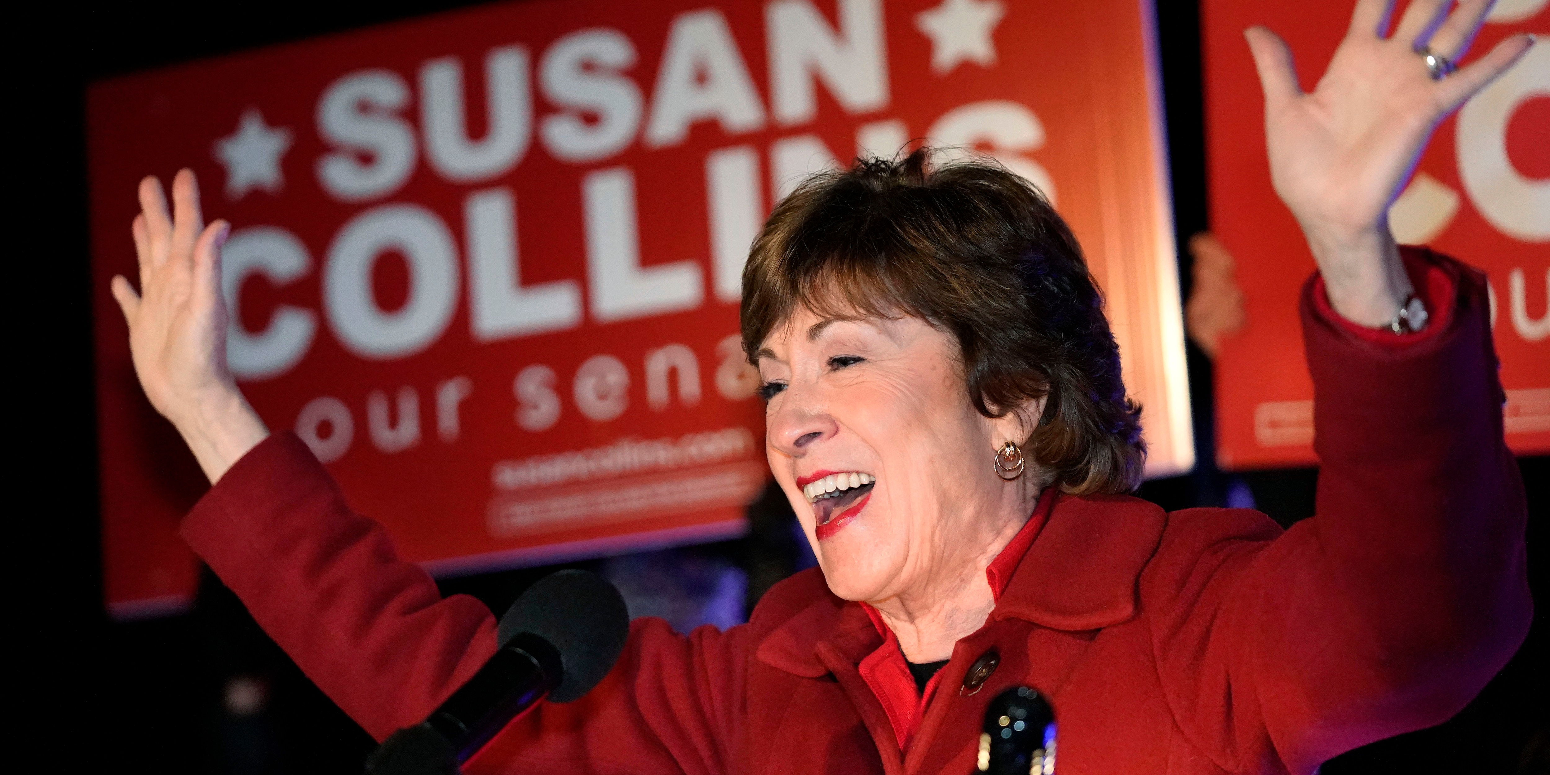 Sen. Susan Collins, R-Maine, addresses supporters just after midnight on Wednesday, Nov. 4, 2020, in Bangor, Maine. (Associated Press)