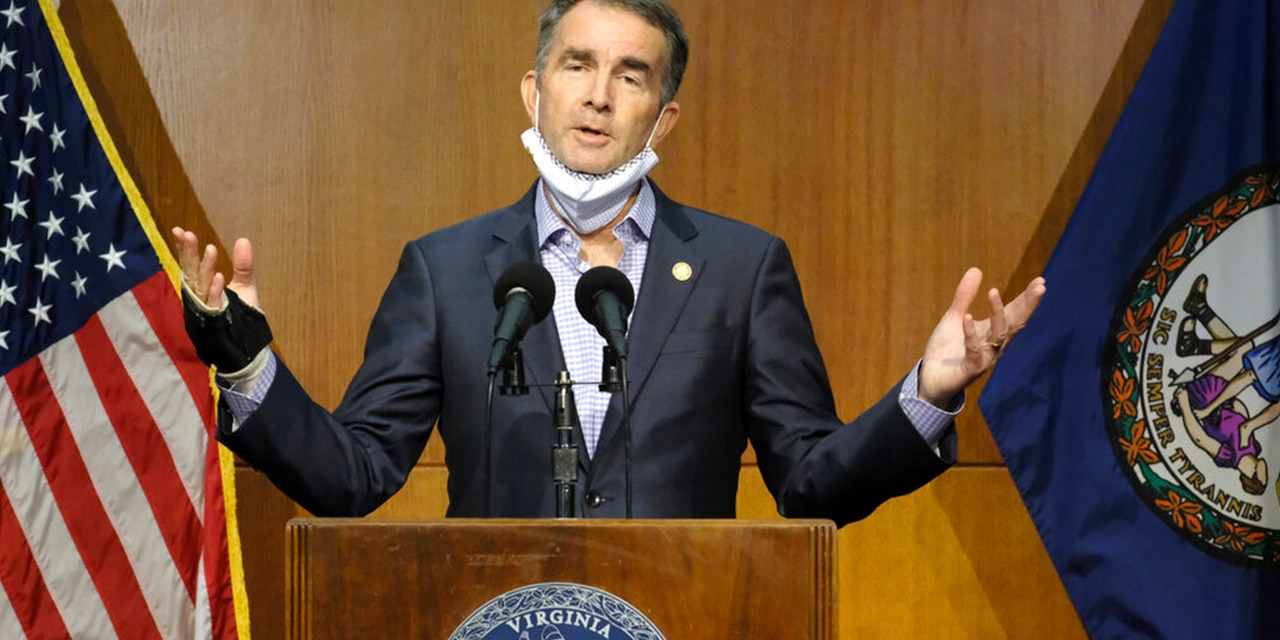 Virginia Gov. Ralph Northam answers a reporter's question dealing with the state's COVID-19 updates during a press conference at the Patrick Henry Building in Richmond, Va., 10. (Bob Brown/Richmond Times-Dispatch via AP)