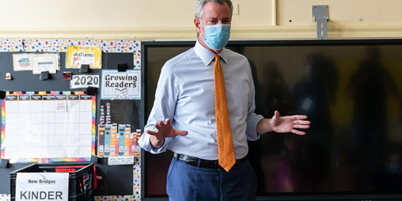 Bill de Blasio, mayor of New York, speaks during a news conference at New Bridges Elementary School in the Brooklyn borough of New York, U.S., on Wednesday, Aug. 19, 2020. Photographer: Jeenah Moon/Bloomberg via Getty Images