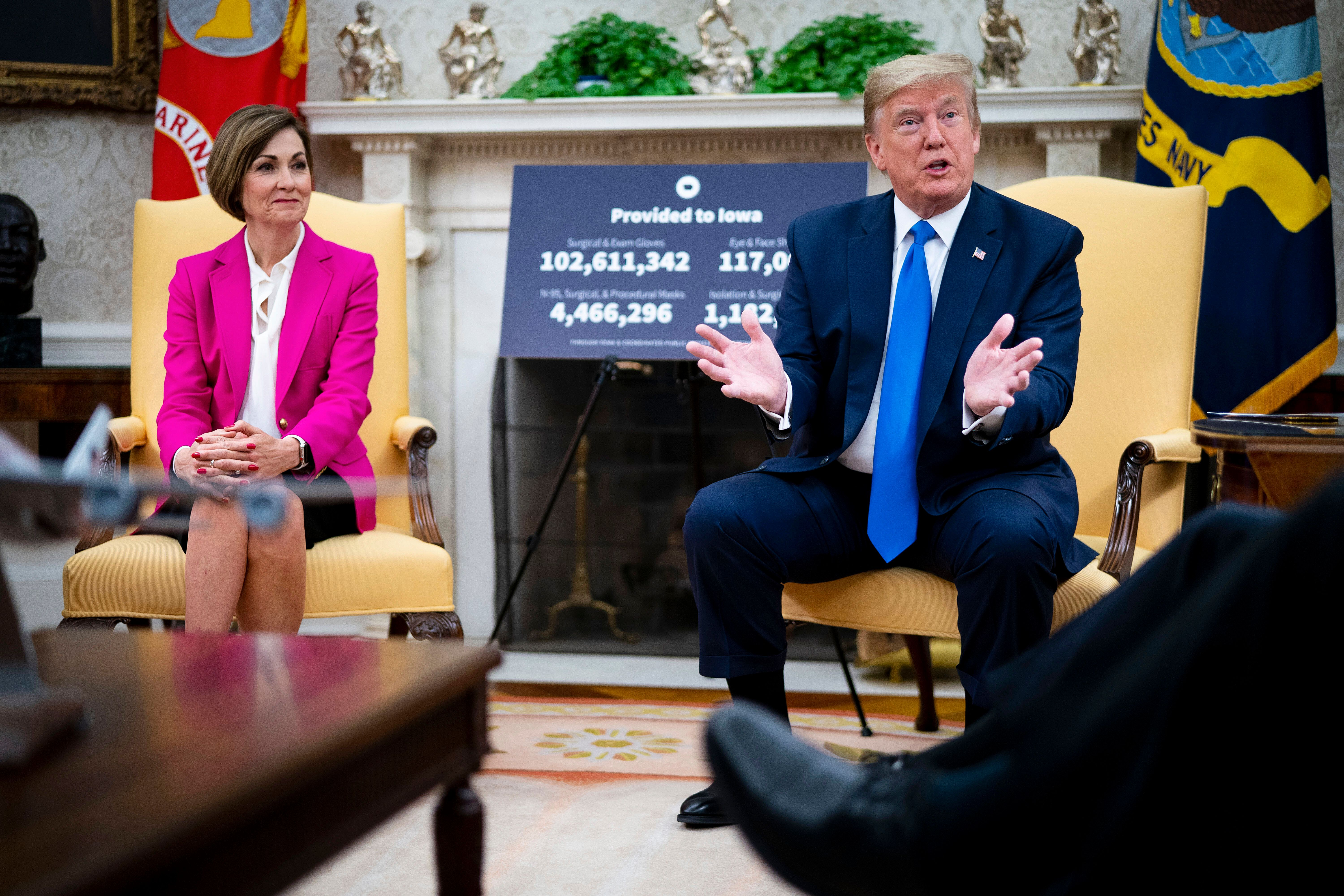 Gov. Kim Reynolds (R-Iowa) and President Donald Trump have both resisted calls for more aggressive public health efforts. Iow