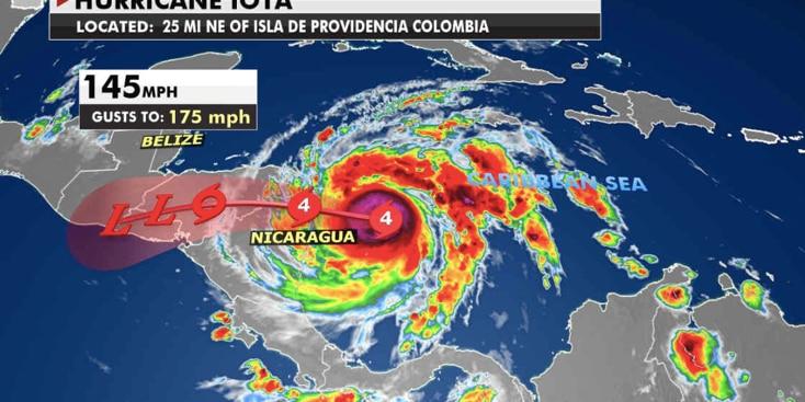 Hurricane Iota's path (Fox News)