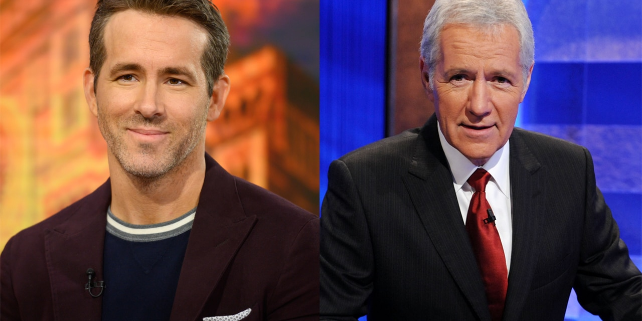 Ryan Reynolds (left) said that he spoke to Alex Trebek (right) just a few months before the 'Jeopardy!' host passed away.