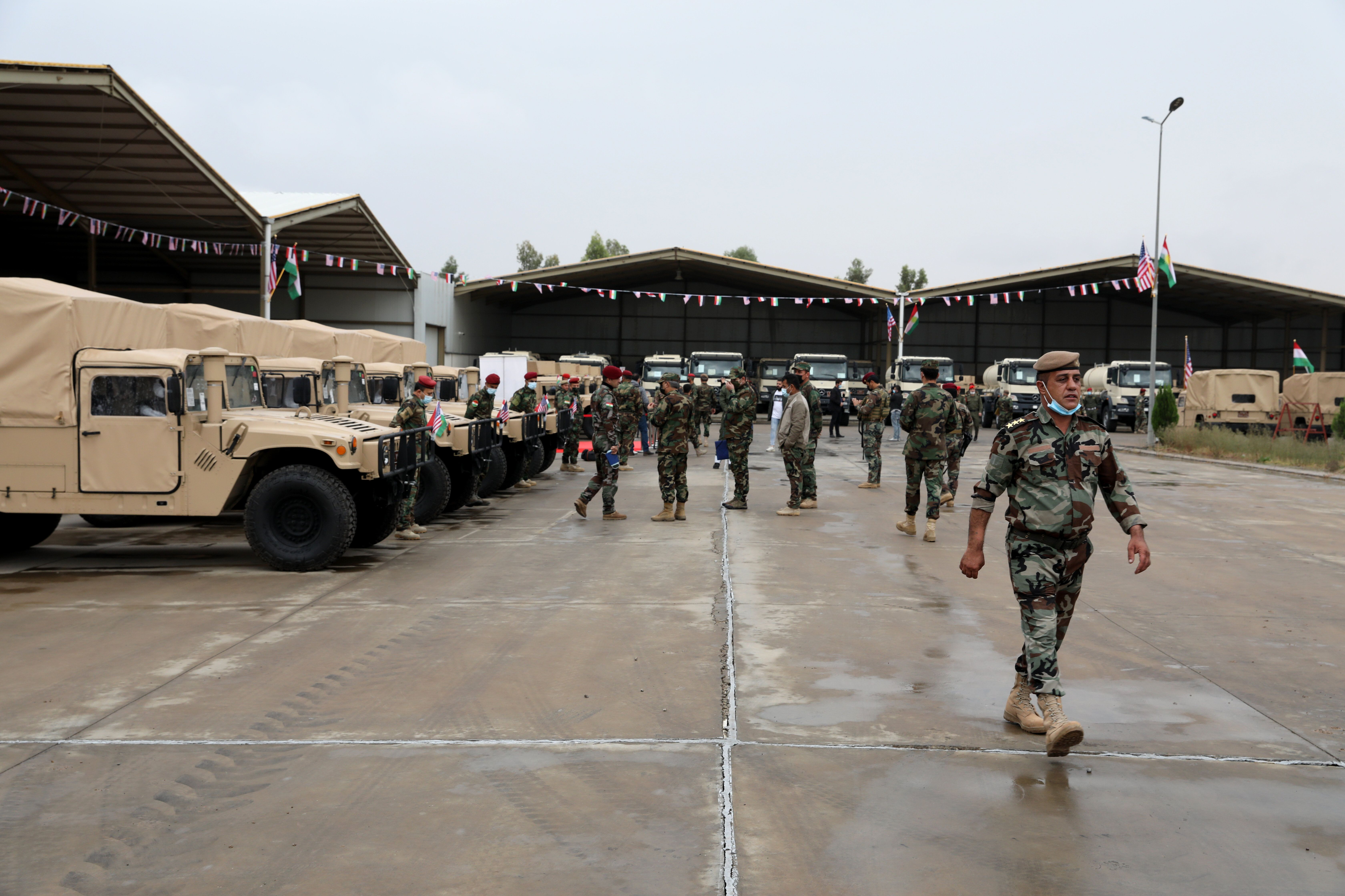 A ceremony held for the delivery of the armored vehicles, logistics and other military supplies sent by the U.S. for the 14th
