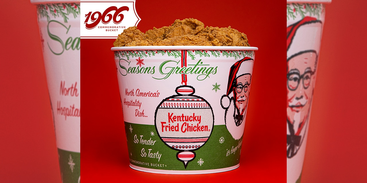 """The 1966 replica bucket includes the slogan """"North America's Hospitality Dish,"""" which discontinued shortly afterward."""