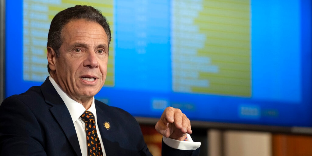 Gov. Cuomo provides a coronavirus update during a news conference in the Red Room at the State Capitol in Albany, N.Y.