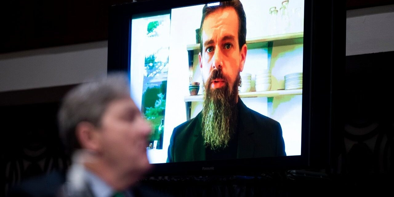Twitter CEO Jack Dorsey testifies remotely during a Senate Judiciary Committee hearing on Facebook and Twitter's actions around the closely contested election on Tuesday, Nov. 17, 2020, in Washington.. (Bill Clark/Pool via AP)