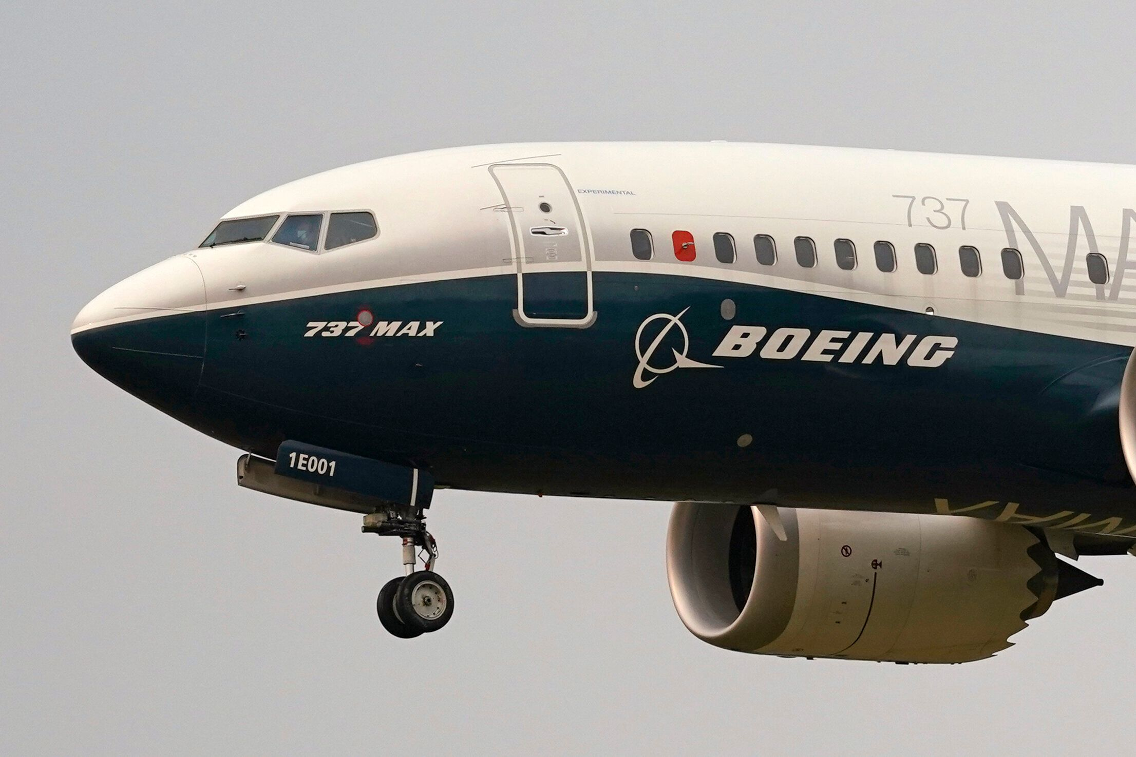 FILE - In this Sept. 30, 2020, file photo, a Boeing 737 Max jet, piloted by Federal Aviation Administration Chief Steve Dicks