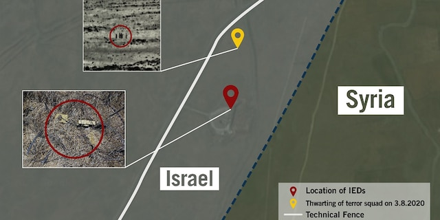 Illustration of where the IEDs were found. (Israel Defense Forces)