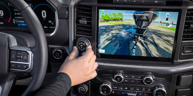 The 2021 F-150 also offers an optional Pro Trailer Backup Assist that steers the vehicle in reverse as the driver uses a knob on the dashboard to point it where it wants it to go.