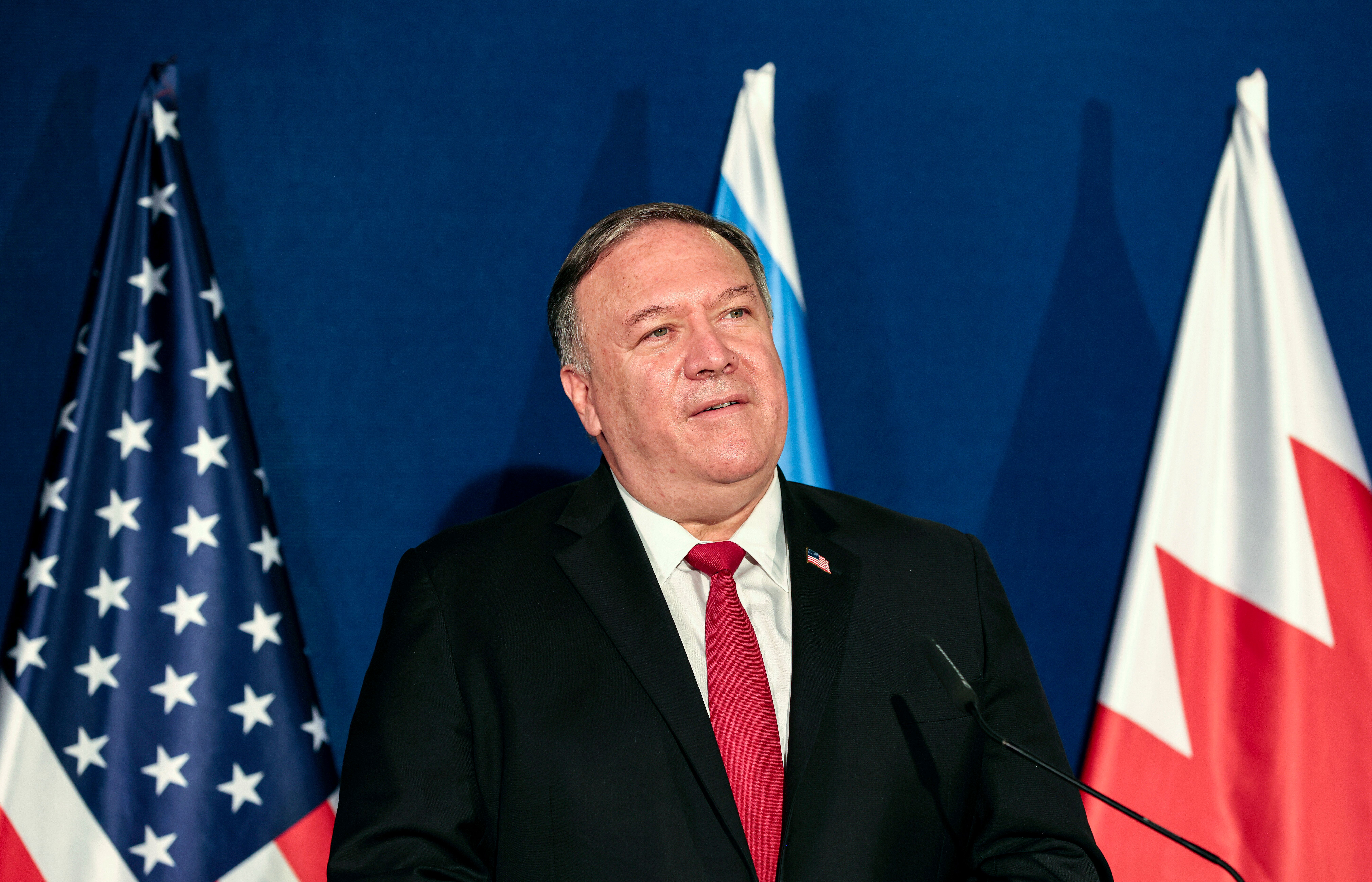 U.S. Secretary of State Mike Pompeo is seen Wednesday during a press conference with Israeli Prime Minister Benjamin Netanyah