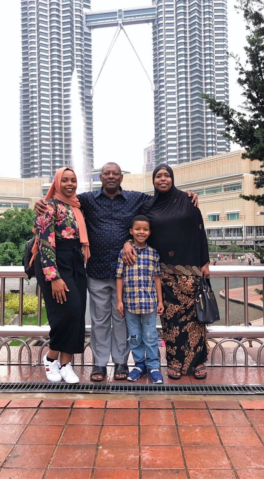 Afnan Salem with her parents and nephew in Kuala Lumpur during a recent visit in July 2019.