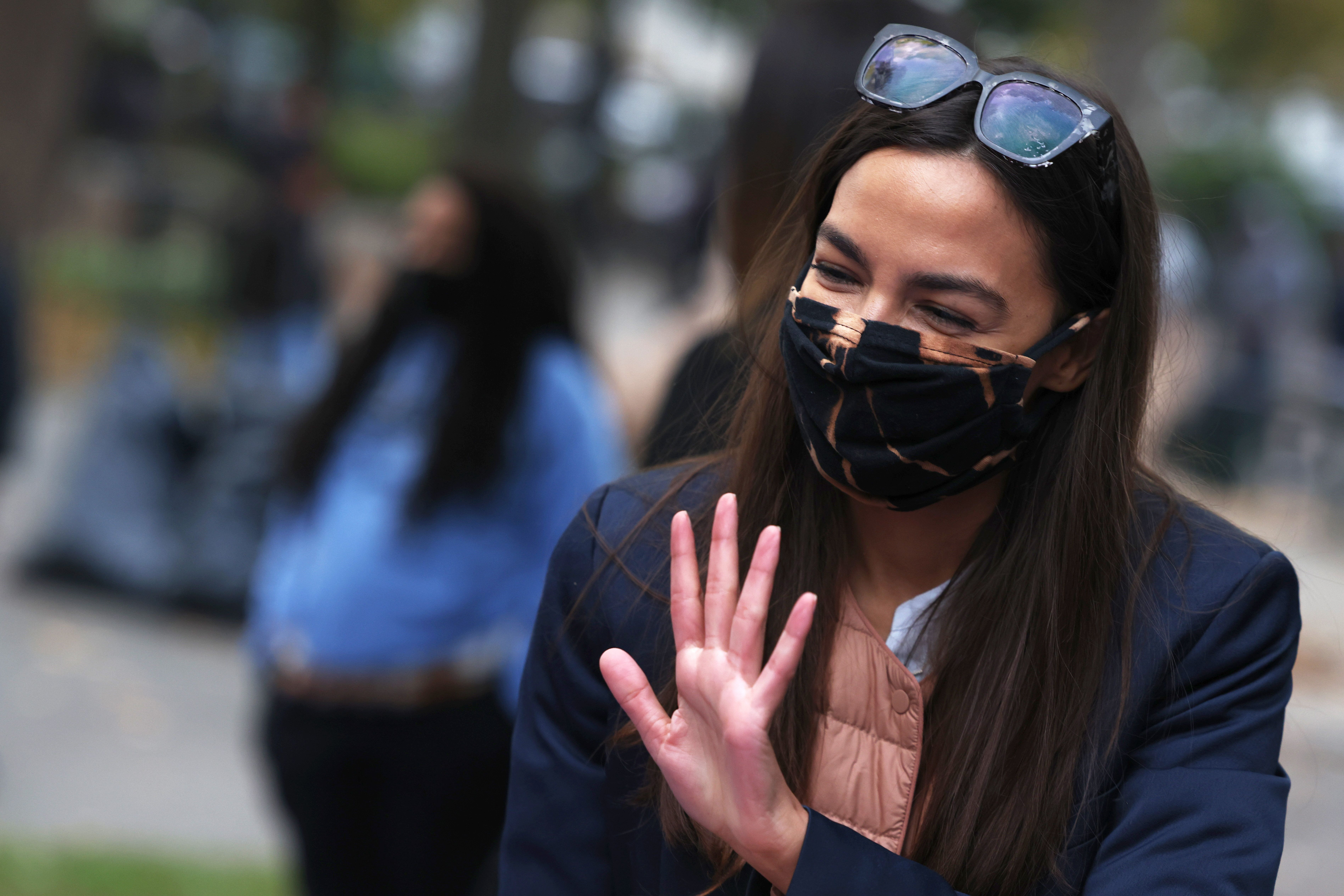 """Rep. Alexandria Ocasio-Cortez (D-N.Y.), who embraced the """"defund the police"""" message, has pushed back against assertions that"""