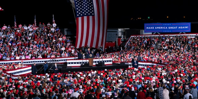 President Donald Trump speaks during a campaign rally at Middle Georgia Regional Airport, Oct. 16, in Macon, Ga. (AP Photo/Evan Vucci)