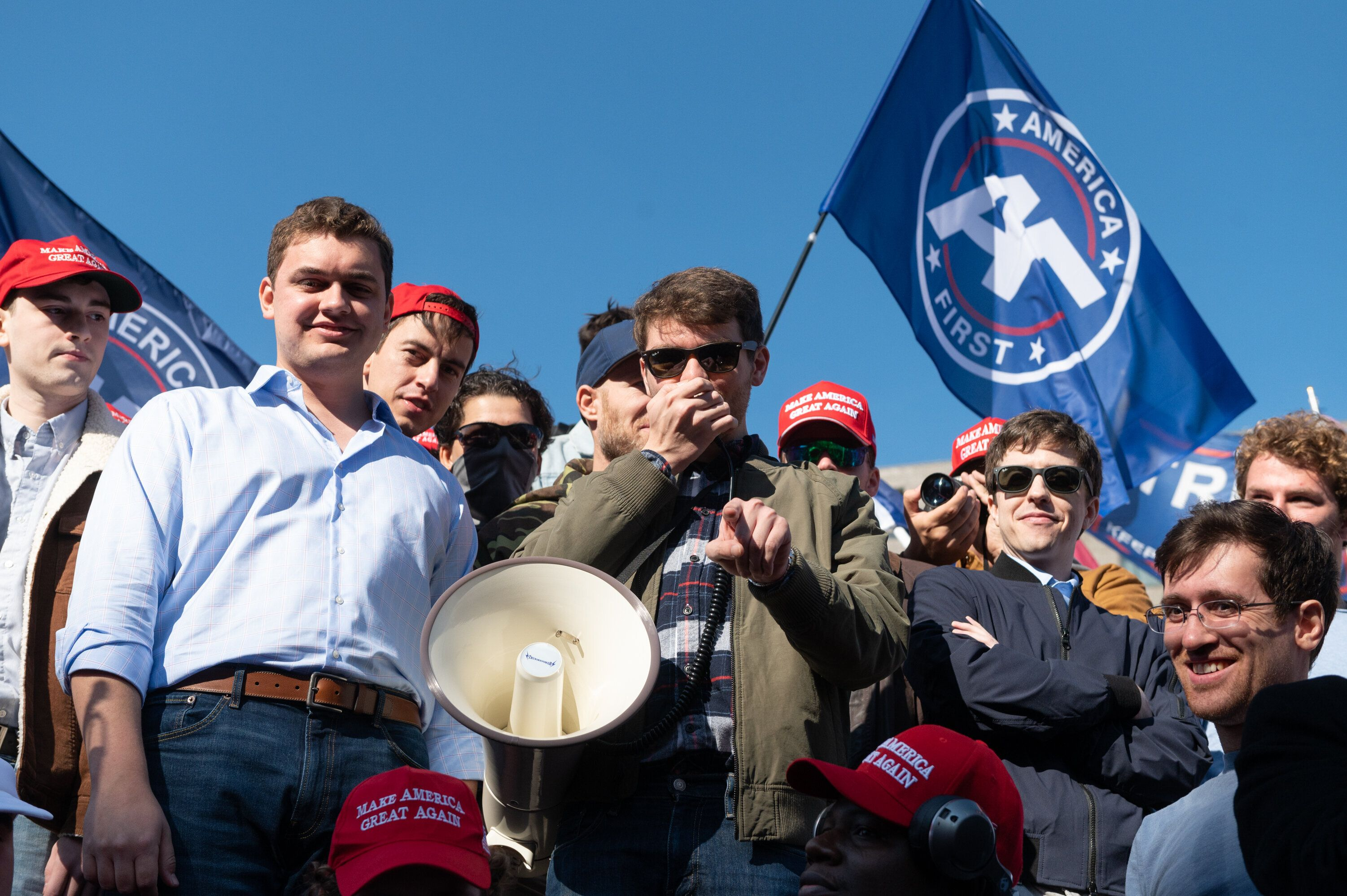 Nick Fuentes, the leader of the white nationalist America First, or Groypers, movement, in Washington, D.C., on Nov. 4.