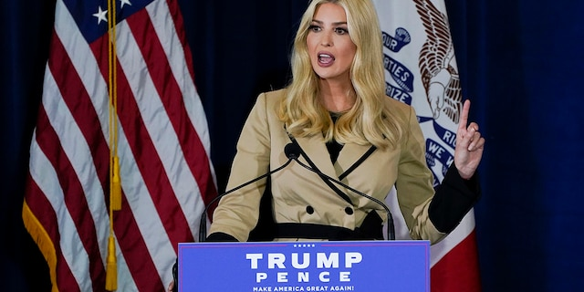 Ivanka Trump, daughter and adviser to President Trump, speaks during a campaign event at the Iowa State Fairgrounds, Monday, Nov. 2, 2020, in Des Moines, Iowa. (AP Photo/Charlie Neibergall)