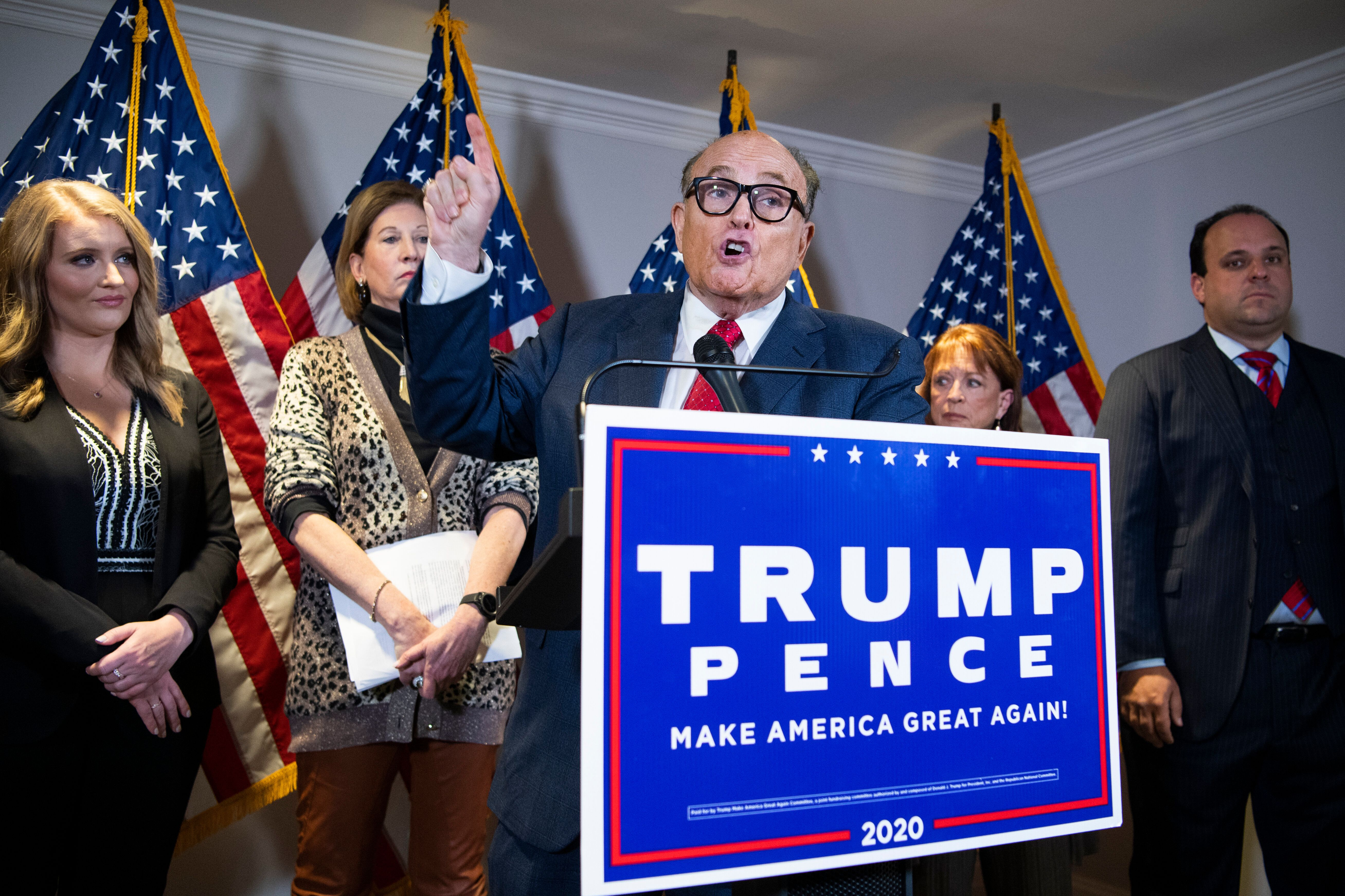 Rudy Giuliani, personal attorney for President Donald Trump, held a news conference at the Republican National Committee on T